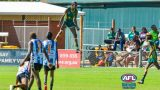 Footy player caught celebrating goal with a bloody trampoline-like jump