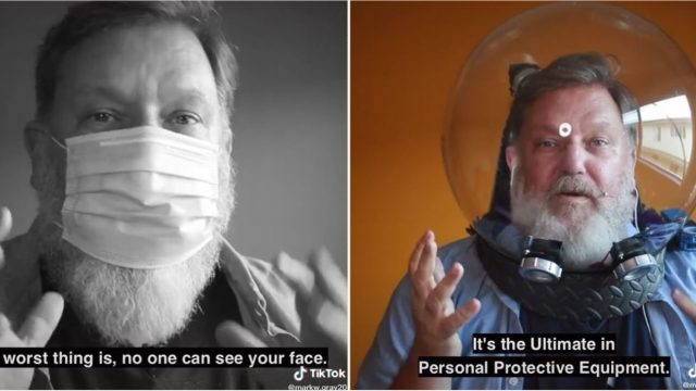 Bloke takes protective masks to the next level with bloody genius design