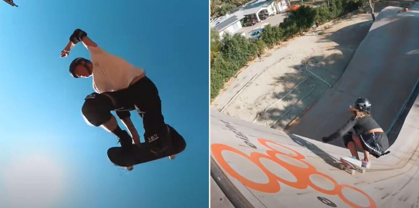 Tony Hawk teaches 12-yr-old sheila how to skate 100ft mega ramp