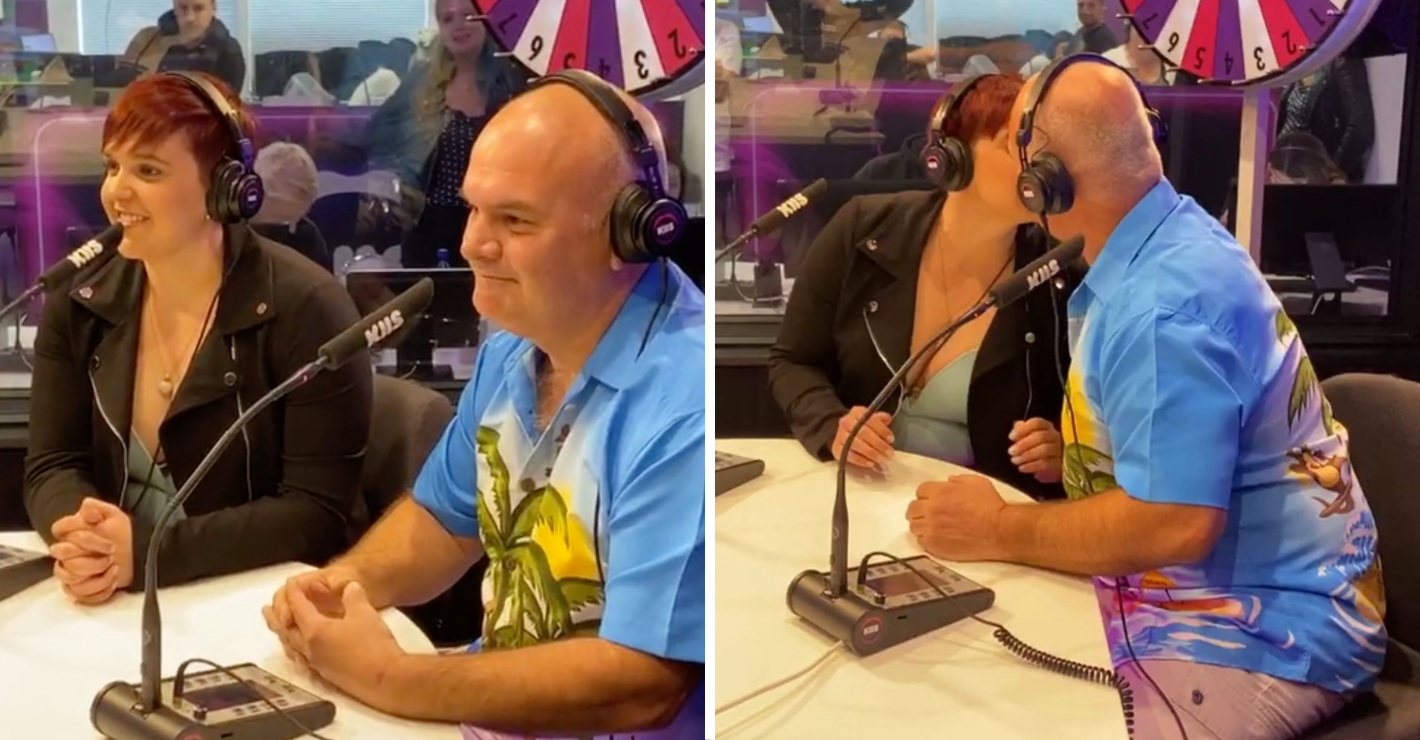 Sheila and dad make out on live radio show to win cash prize