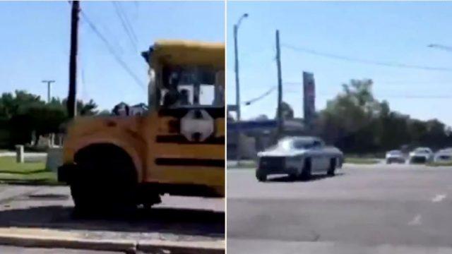 Footage captured shows 11 year old kid taking joyride in stolen school bus