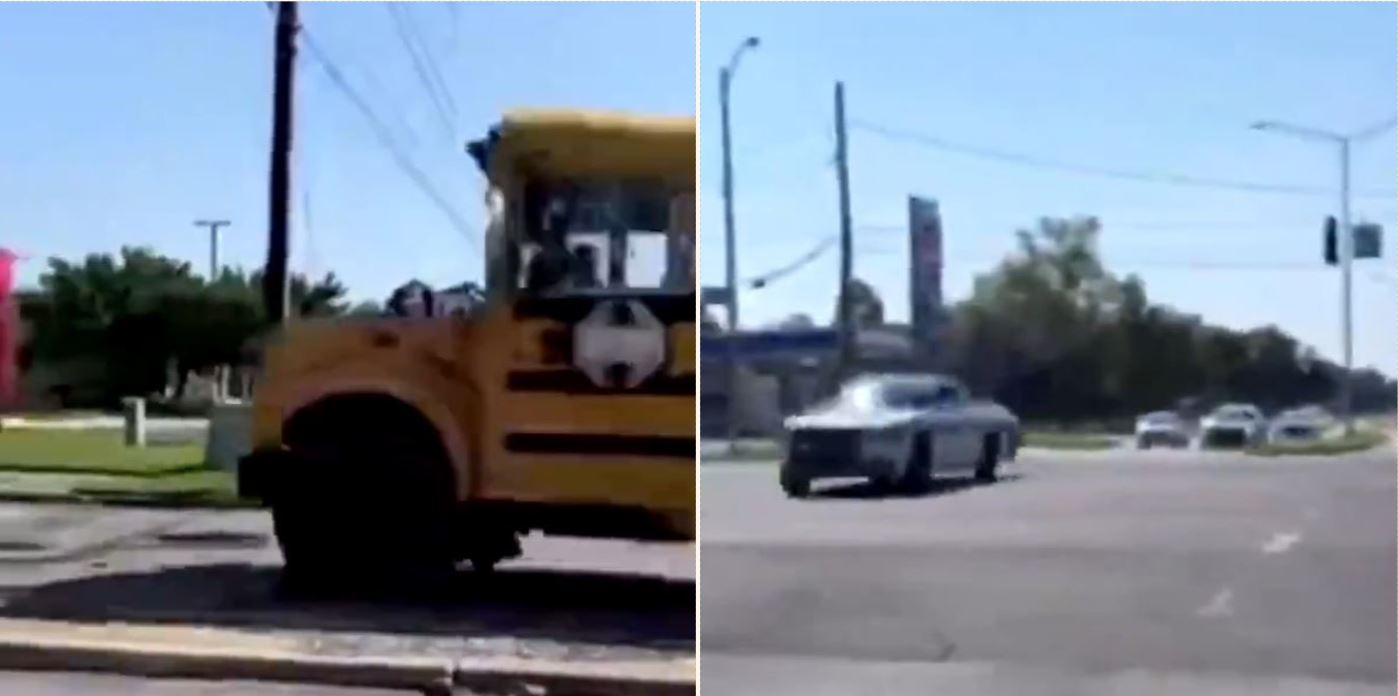 Footage captured shows 11 year old kid taking joyride in stolen school bus