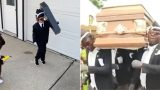 "Kid wins internet with bloody gold ""coffin dance"" Halloween costume"