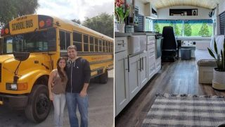 Couple share incredible before and after photos of school bus turned travel home
