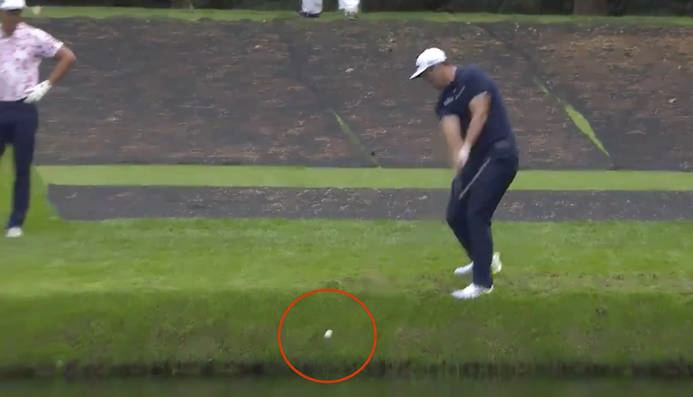 Golfer skips his ball across lake like a skipping stone in jaw-dropping shot