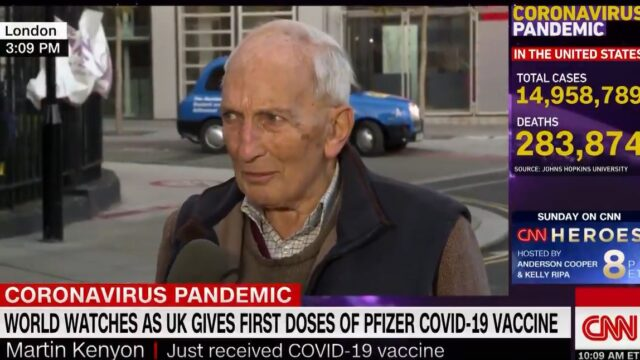 Old bloke gives bloody gold interview after getting his COVID-19 Vaccine
