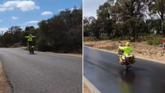 Ozzie Mailman f**ken tears it up on his Postie bike