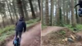 Bloke f**ken tears up offroad track on unicycle!