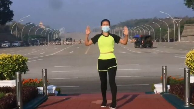 Dancing woman accidentally captures Myanmar military coup on video