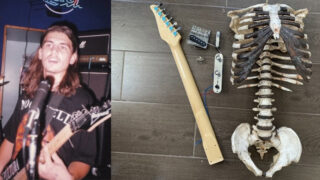 Metal-head bloke turns uncle's skeleton into fully functional guitar!