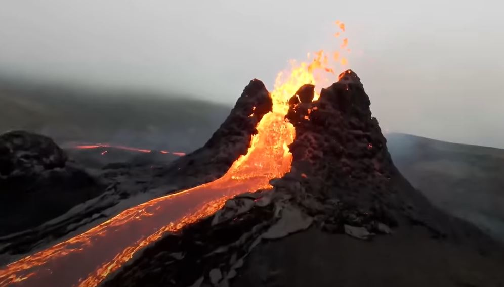 Incredible drone footage captures close-up views of volcano erupting in Iceland