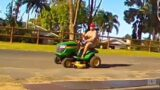 Police release footage of bloke making slow get-away in lawnmower theft