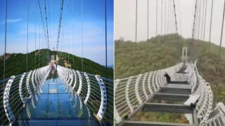 Bloke stranded on glass-bottom suspension bridge 90 metres in the air after wind destroys it