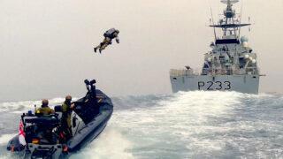 Awesome footage shows UK Marine f@*#en jetpack onto ship