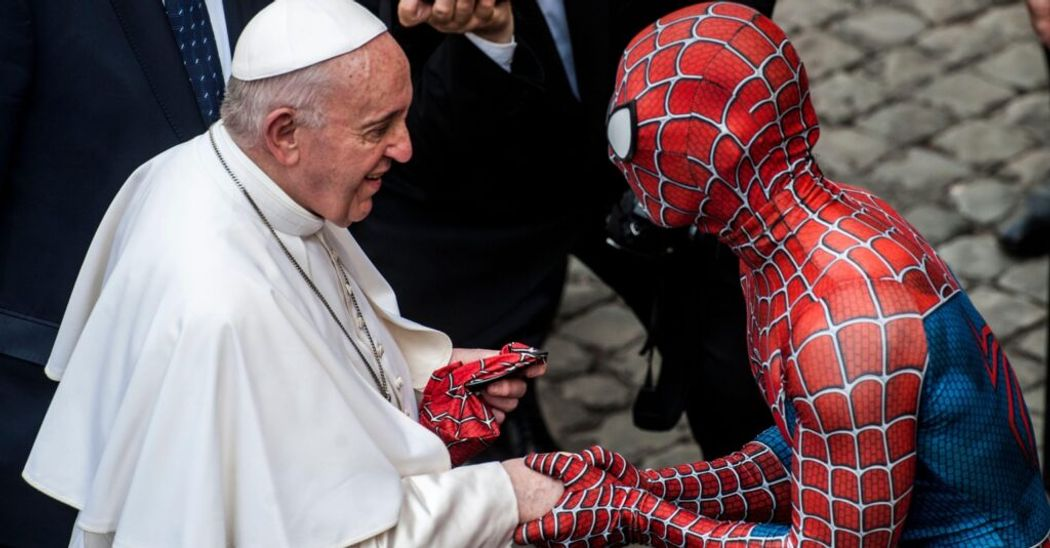 Spiderman meets the Pope and is recognised for his good work!