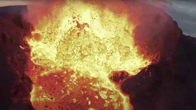 Spectacular scenes as drone crashes into erupting lava at Iceland's Fagradalsfjall volcano