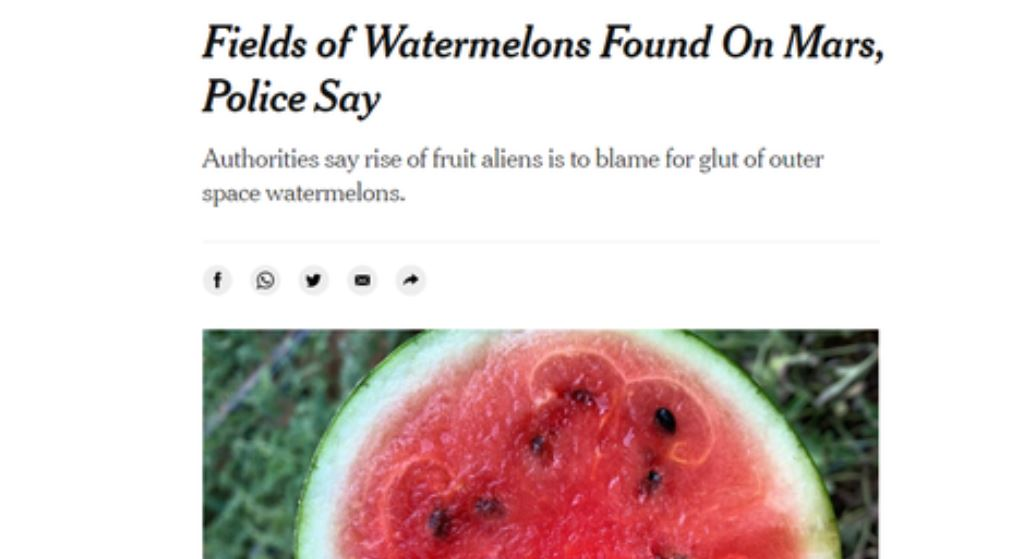 New York Times accidentally publishes story about watermelons on Mars