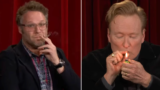 Conan O'Brien and Seth Rogen spark up on television