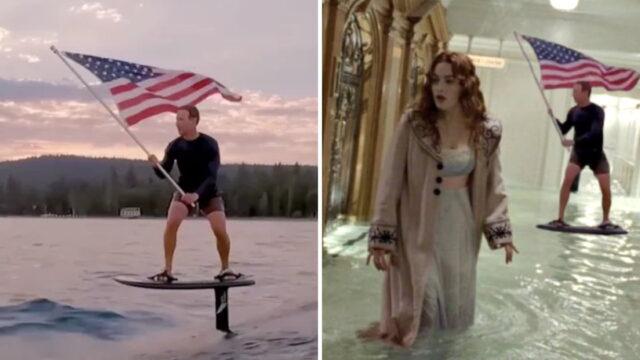 Mark Zuckerberg's flag waving surfing video sparks memes