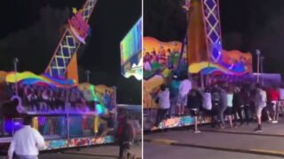 Footage captures moment bystanders rush to stop carnival ride tipping over