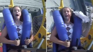 Teen sheila slapped in the face by a seagull on 120-km/hr Sling Shot ride