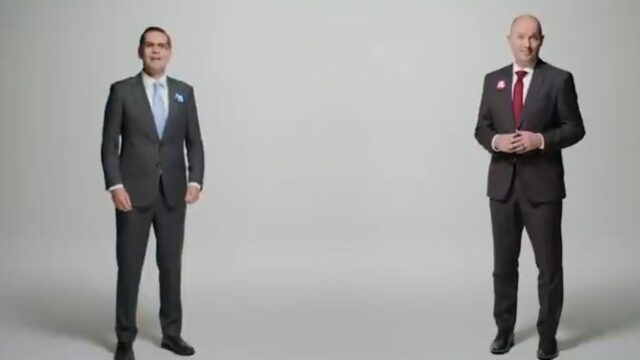 Two competing Politicians united to demonstrate civility in TV commercial