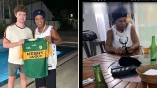 Irish bloke befriends Ronaldinho and heads to his place for keepie-uppies and beer!