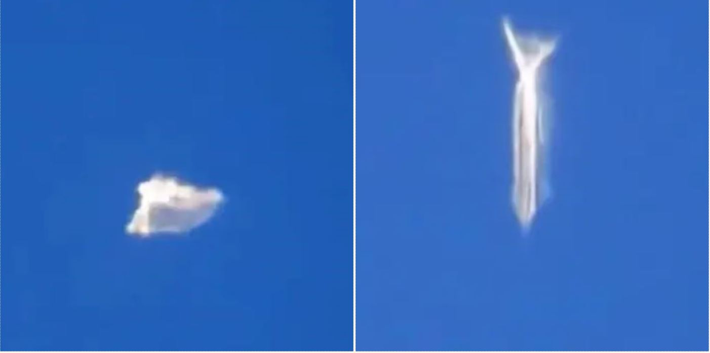 """Shocked plane passenger films """"shape-shifting"""" UFO hovering 30,000ft in the air"""