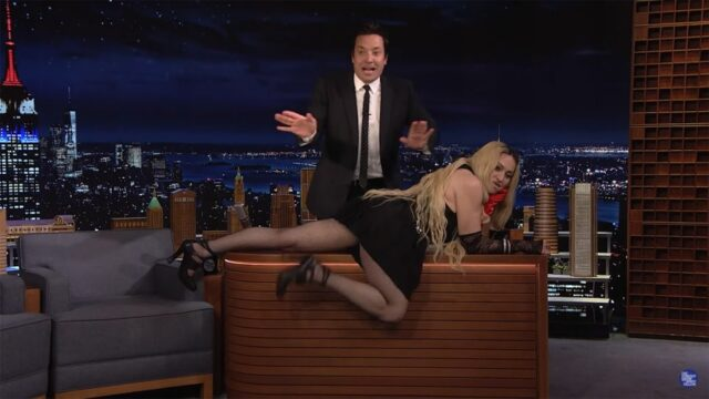 Madonna flashes Tonight Show audience in chaotic interview