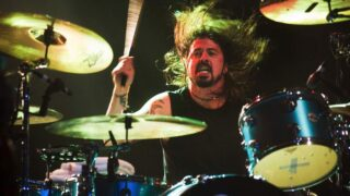 Dave Grohl plays Smells Like Teen Spirit on drums while touring in support of new memoir